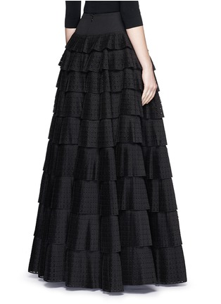 Back View - Click To Enlarge - Alaïa - 'Vienne' geometric perforated plissé pleat skirt