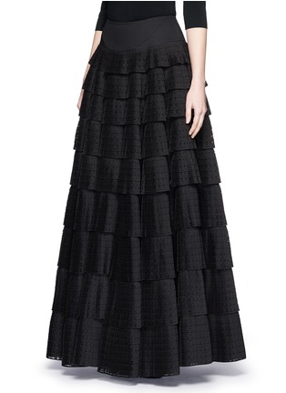 Front View - Click To Enlarge - Alaïa - 'Vienne' geometric perforated plissé pleat skirt