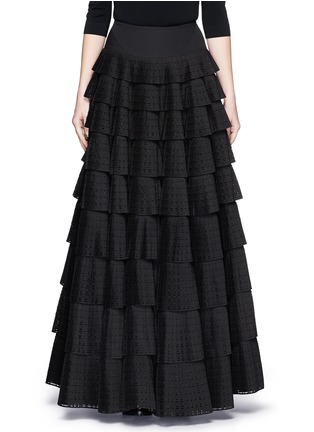 Main View - Click To Enlarge - Alaïa - 'Vienne' geometric perforated plissé pleat skirt