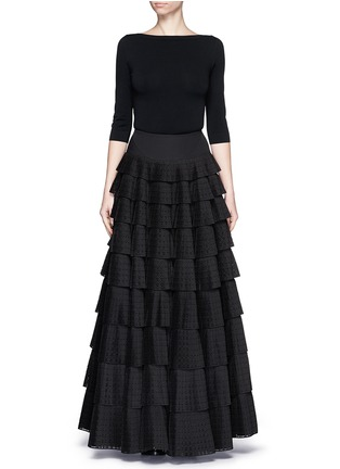 Figure View - Click To Enlarge - Alaïa - 'Vienne' geometric perforated plissé pleat skirt