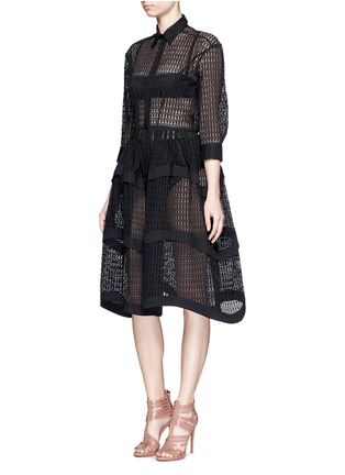 Figure View - Click To Enlarge - Alaïa - 'Vienne' geometric cutout tiered shirt dress