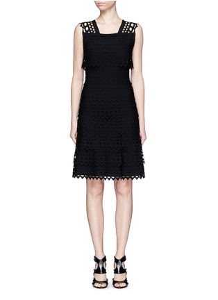 Main View - Click To Enlarge - Alaïa - 'Vienne' geometric cutout ruffle tier knit dress