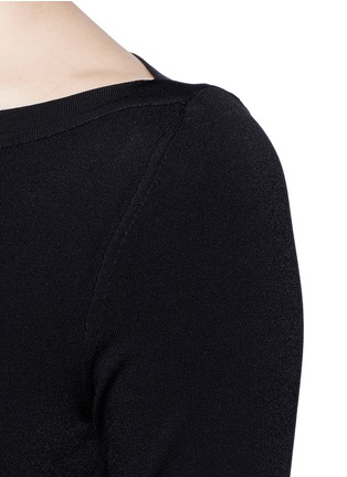 Detail View - Click To Enlarge - Alaïa - Envelope neck dense knit bodysuit