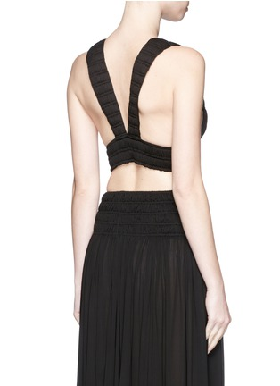 Back View - Click To Enlarge - Alaïa - Shirred ruche strappy cropped top