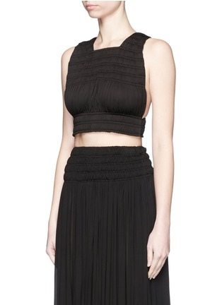 Front View - Click To Enlarge - Alaïa - Shirred ruche strappy cropped top