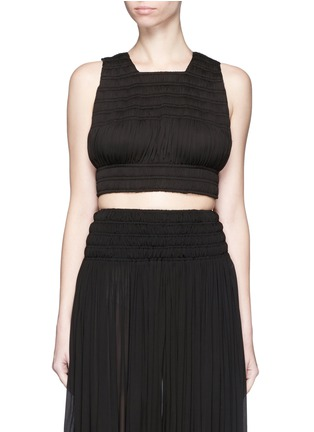 Main View - Click To Enlarge - Alaïa - Shirred ruche strappy cropped top