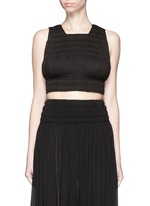 Shirred ruche strappy cropped top