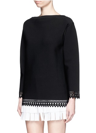 Front View - Click To Enlarge - Alaïa - 'Vienne' bateau neckline geometric cutout top