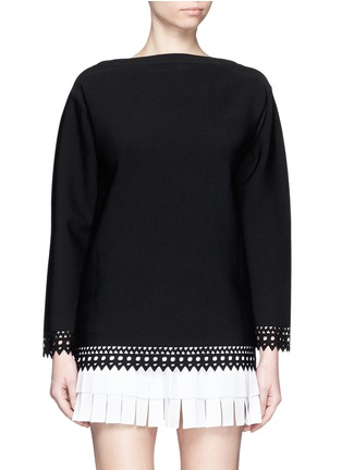 Main View - Click To Enlarge - Alaïa - 'Vienne' bateau neckline geometric cutout top