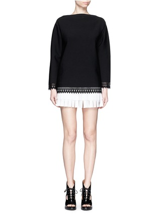 Figure View - Click To Enlarge - Alaïa - 'Vienne' bateau neckline geometric cutout top