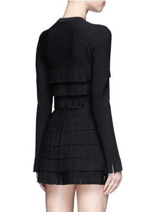 Back View - Click To Enlarge - Alaïa - 'Perse' Grecian fringe knit cardigan