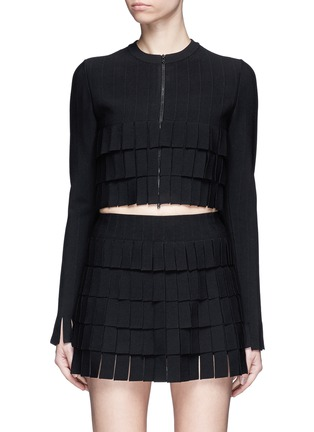 Main View - Click To Enlarge - Alaïa - 'Perse' Grecian fringe knit cardigan