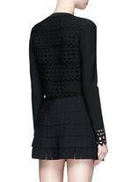 'Vienne' geometric cutout perforated cropped cardigan