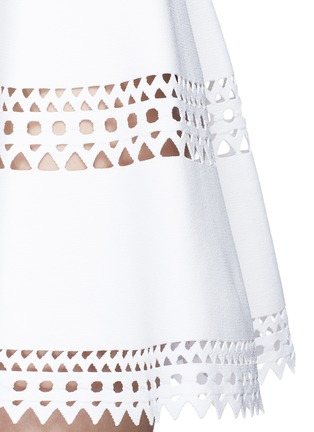 Detail View - Click To Enlarge - Alaïa - 'Vienne' geometric perforated knit skirt