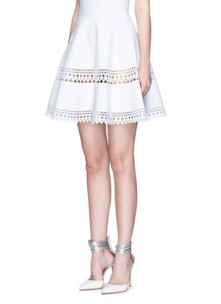 Front View - Click To Enlarge - Alaïa - 'Vienne' geometric perforated knit skirt