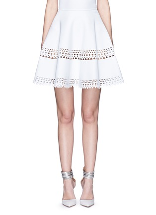 Main View - Click To Enlarge - Alaïa - 'Vienne' geometric perforated knit skirt