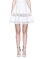 'Vienne' geometric perforated knit skirt