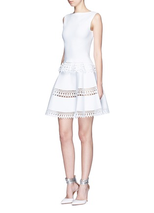 Figure View - Click To Enlarge - Alaïa - 'Vienne' geometric perforated knit skirt