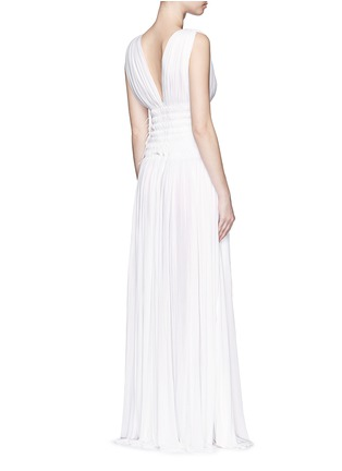 Back View - Click To Enlarge - Alaïa - Ruched deep split jersey Grecian gown
