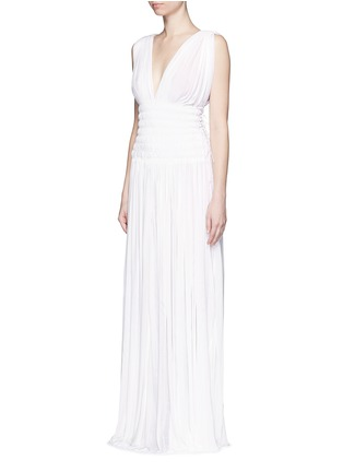 Figure View - Click To Enlarge - Alaïa - Ruched deep split jersey Grecian gown