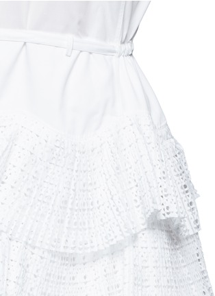 Detail View - Click To Enlarge - Alaïa - Geometric cutout plissé pleat drawstring dress