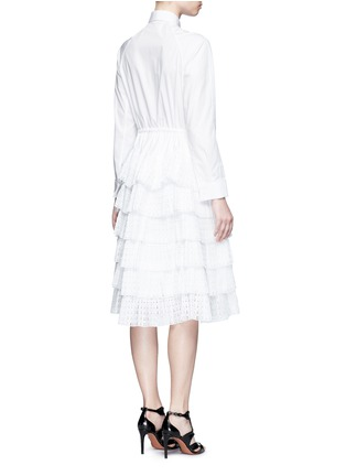 Back View - Click To Enlarge - Alaïa - Geometric cutout plissé pleat drawstring dress