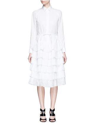 Main View - Click To Enlarge - Alaïa - Geometric cutout plissé pleat drawstring dress