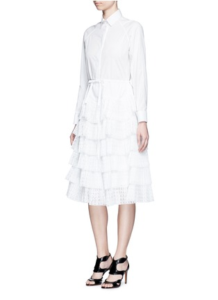 Figure View - Click To Enlarge - Alaïa - Geometric cutout plissé pleat drawstring dress