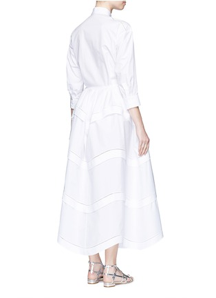 Back View - Click To Enlarge - Alaïa - Ladder stitch cotton poplin tiered shirt dress