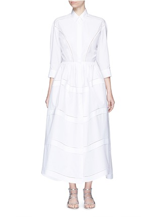 Main View - Click To Enlarge - Alaïa - Ladder stitch cotton poplin tiered shirt dress