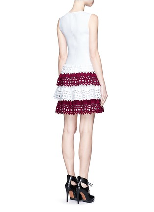 Back View - Click To Enlarge - Alaïa - 'Vienne' geometric cutout perforated knit tier dress