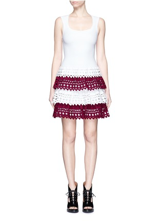 Main View - Click To Enlarge - Alaïa - 'Vienne' geometric cutout perforated knit tier dress