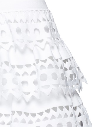 Detail View - Click To Enlarge - Alaïa - 'Vienne' geometric cutout ruffle tier knit dress