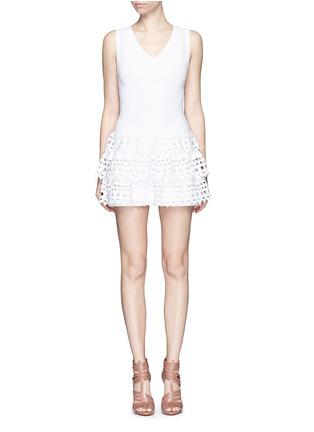 Alaïa-'Vienne' geometric cutout ruffle tier knit dress