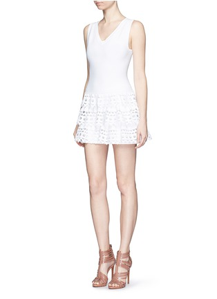 Figure View - Click To Enlarge - Alaïa - 'Vienne' geometric cutout ruffle tier knit dress