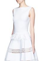'Vienne' geometric perforated knit top
