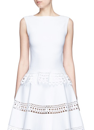 Main View - Click To Enlarge - Alaïa - 'Vienne' geometric perforated knit top