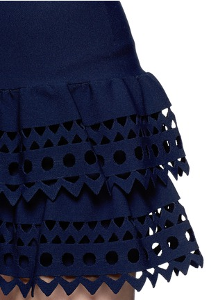 Detail View - Click To Enlarge - Alaïa - 'Vienne' geometric cutout ruffle tier knit skirt