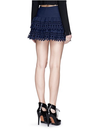 Back View - Click To Enlarge - Alaïa - 'Vienne' geometric cutout ruffle tier knit skirt