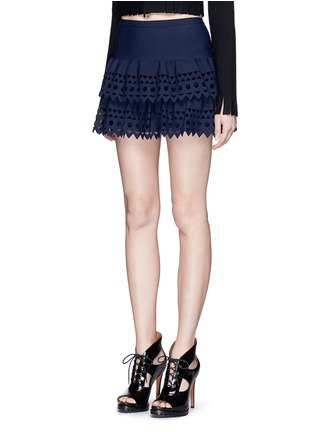 Front View - Click To Enlarge - Alaïa - 'Vienne' geometric cutout ruffle tier knit skirt