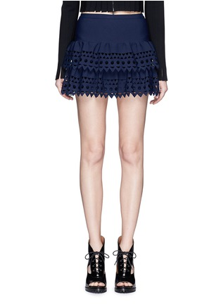 Main View - Click To Enlarge - Alaïa - 'Vienne' geometric cutout ruffle tier knit skirt