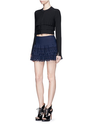 Figure View - Click To Enlarge - Alaïa - 'Vienne' geometric cutout ruffle tier knit skirt