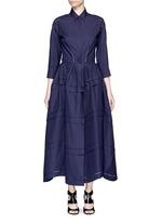 Ladder stitch cotton poplin tiered shirt dress