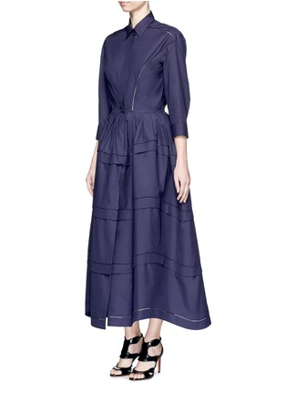 Figure View - Click To Enlarge - Alaïa - Ladder stitch cotton poplin tiered shirt dress