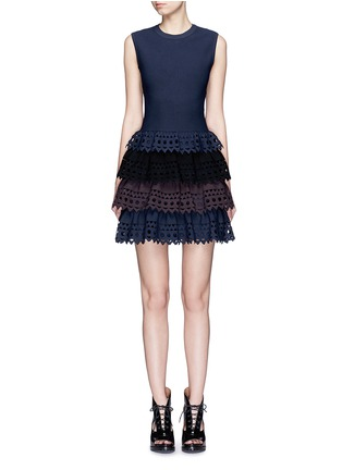 Main View - Click To Enlarge - Alaïa - 'Vienne' perforated ruffle tier sleeveless knit dress