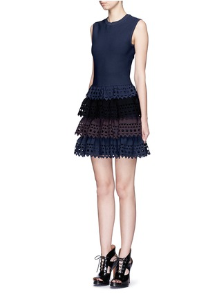 Figure View - Click To Enlarge - Alaïa - 'Vienne' perforated ruffle tier sleeveless knit dress