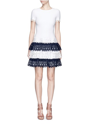 Main View - Click To Enlarge - Alaïa - 'Vienne' geometric cutout tiered knit dress