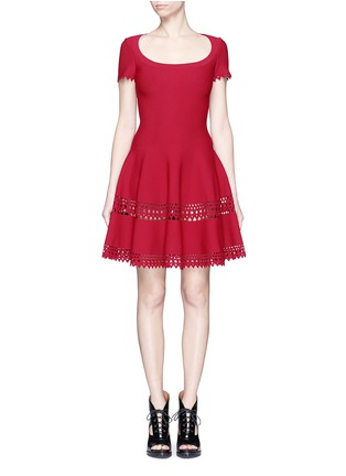 Main View - Click To Enlarge - Alaïa - 'Vienne' geometric cutout perforated knit dress