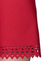'Vienne' perforated sleeveless flare knit dress