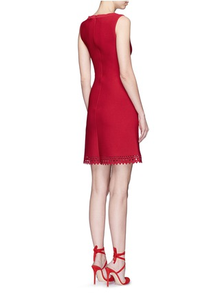 Back View - Click To Enlarge - Alaïa - 'Vienne' perforated sleeveless flare knit dress